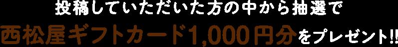 投稿していただいた方の中から抽選で西松屋ギフトカード1,000円分をプレゼント!!
