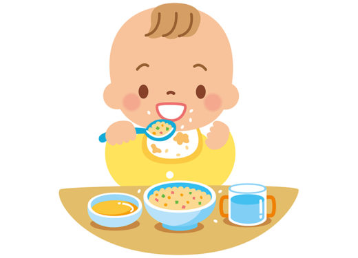 ご飯を食べる赤ちゃんのイラスト
