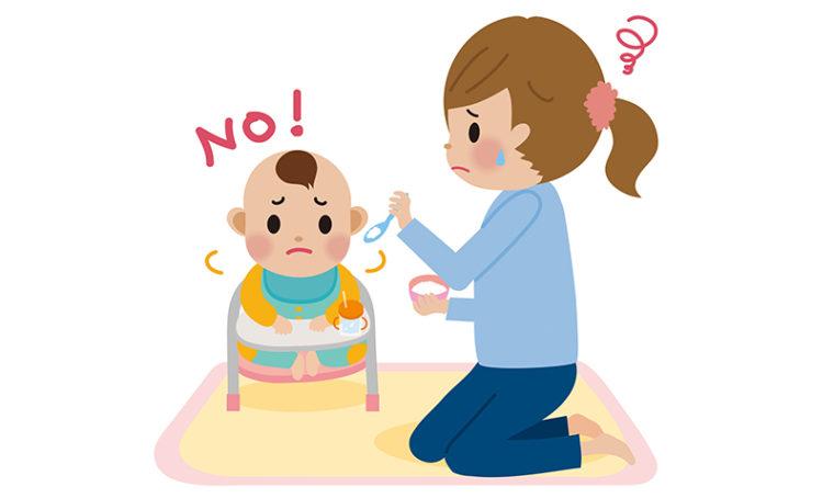 赤ちゃんがご飯を嫌がるイラスト