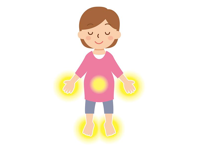 手足が光る女性のイラスト