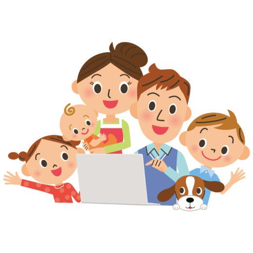 パソコンを覗く家族