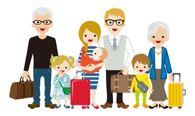 旅行中の家族
