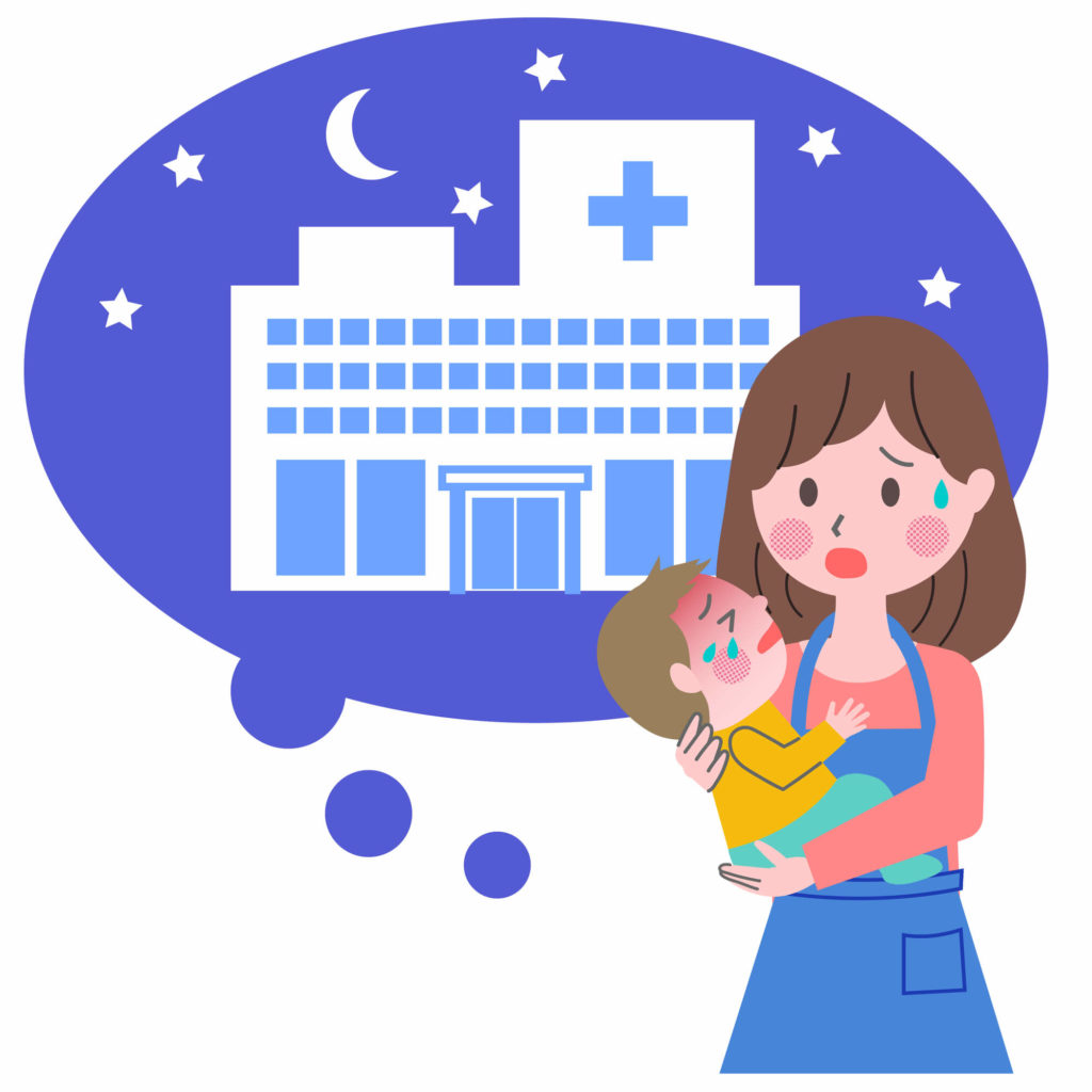 夜間病院を探す母