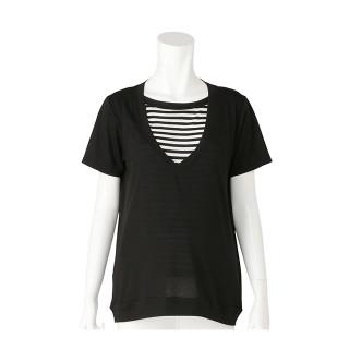 授乳口付 レイヤード風Tシャツ