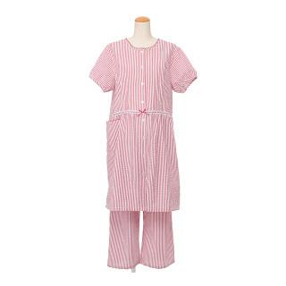 【マタニティパジャマ】授乳口付 ストライプ半袖パジャマ