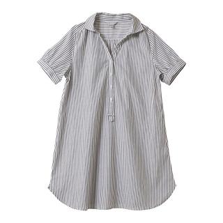 【マタニティウェア】授乳仕様 ストライプシャツワンピース