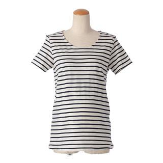 【マタニティウェア】授乳口付 ボーダー半袖Tシャツ