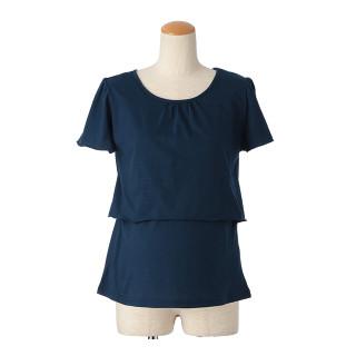 【マタニティウェア】授乳口付 後ろリボン半袖Tシャツ