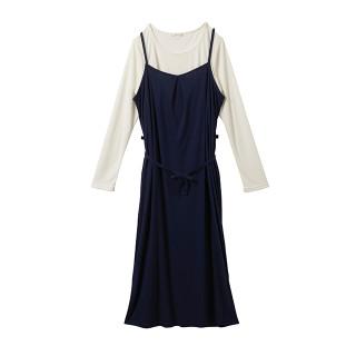 【マタニティウェア】授乳口付 長袖Tシャツ&キャミワンピースセット