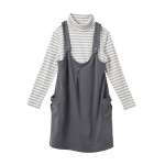 【マタニティウェア】授乳口付 タートルネックTシャツ&ジャンパースカート