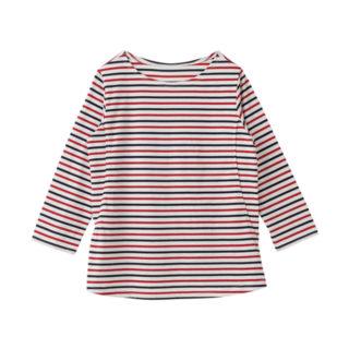 【ELFINDOLL】 授乳口付 ボーダー7分袖Tシャツ