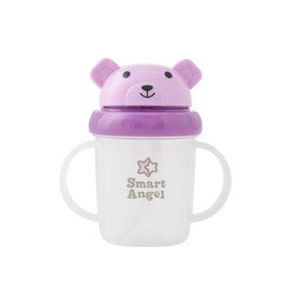 【SmartAngel】 くまさんストローマグ 紫色