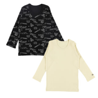 男児 2枚組 厚地 長袖シャツ