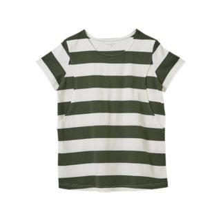 【ELFINDOLL】 授乳口付 半袖 太ボーダーTシャツ