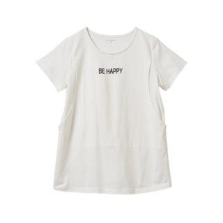 【ELFINDOLL】 授乳口付 半袖 ロゴプリントTシャツ