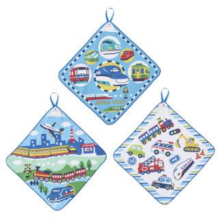 【ELFINDOLL】 3枚組 ループ付きタオル (電車・車)