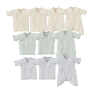 【ELFINDOLL】 新生児肌着 10点セット ボタン式(短肌着6枚、コンビ肌着4枚)