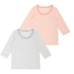 女児 2枚組 裏起毛長袖シャツ