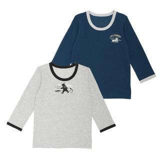 男児 2枚組 裏起毛長袖シャツ