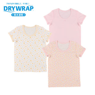 DRYWRAP キッズ 女児 3枚組 半袖シャツ