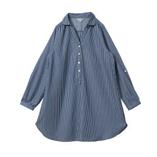 【マタニティウェア】授乳口付  ツイルストライプシャツワンピ