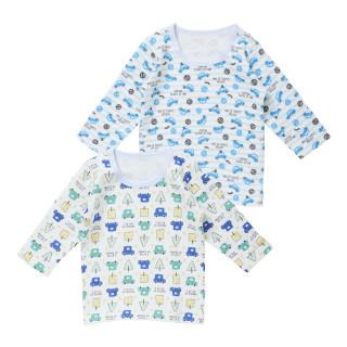 ベビー男児2枚組キルト長袖シャツ