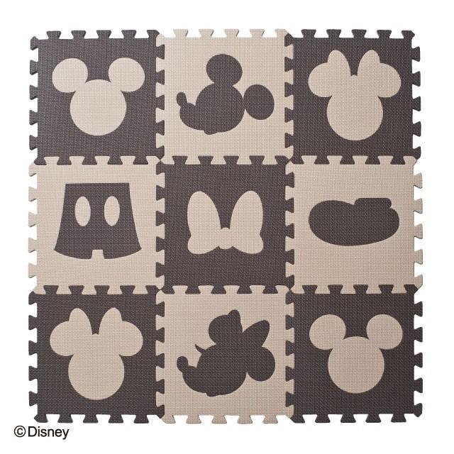 デザインマット ミッキーマウス&ミニーマウス ブラウンベージュ(9枚入)