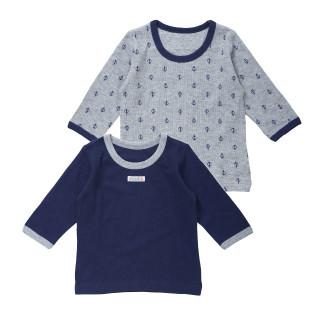 ベビー男児2枚組接結長袖シャツ