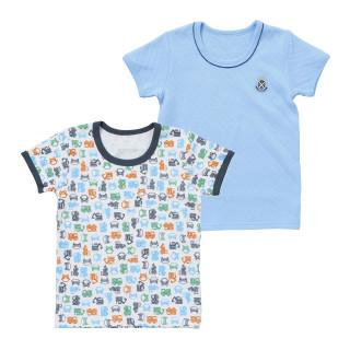 男児2枚組キルト半袖シャツ