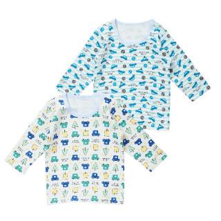 男児2枚組キルト長袖シャツ