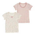 ベビー女児2枚組半袖シャツ