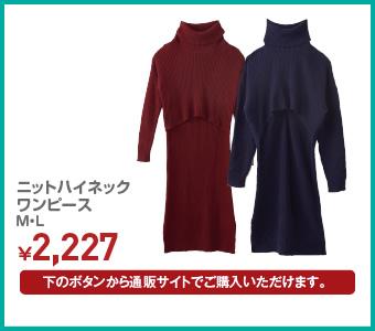 ニットハイネックワンピース M・L ¥2,227